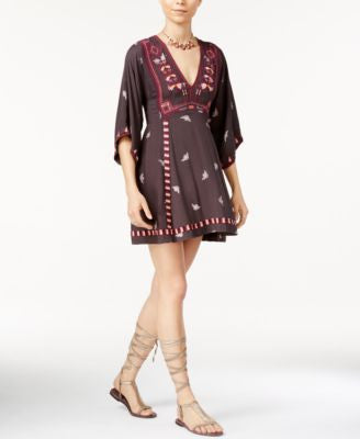 Free People Tulum Embrodiered Babydoll Peasant Dress