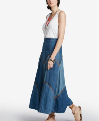 Free People Bliss Made Patchwork Denim Maxi Skirt