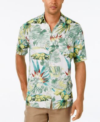 Tasso Elba Men's Water Tropics Floral-Print Short-Sleeve Shirt, Classic Fit, Only at Vogily