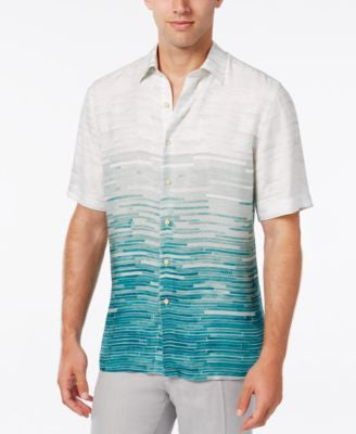 Tasso Elba Island Men's Ombré Tile-Print Short-Sleeve Shirt, Only at Vogily