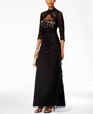 Betsy & Adam Lace Open-Back Ruffled Gown