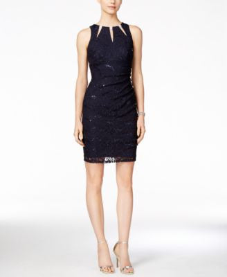Betsy & Adam Embellished Keyhole Ruched Lace Dress