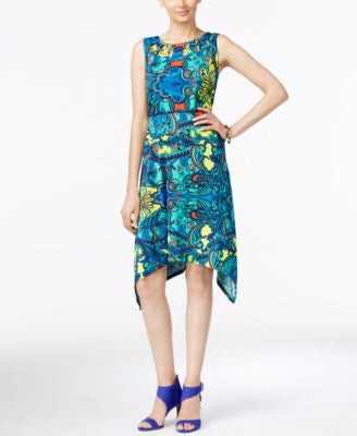 NY Collection Printed Cutout A Line Dress