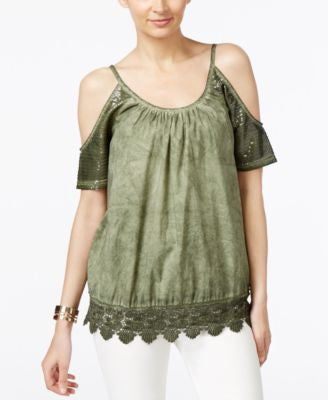 Marled Sequined Cold-Shoulder Crochet-Trim Top