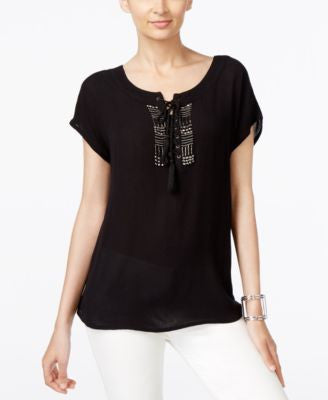 NY Collection Lace-Up Beaded Peasant Top