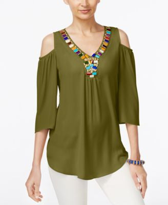 NY Collection Cold-Shoulder Beaded Blouse