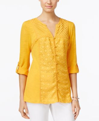 NY Collection Lace-Trim Blouse