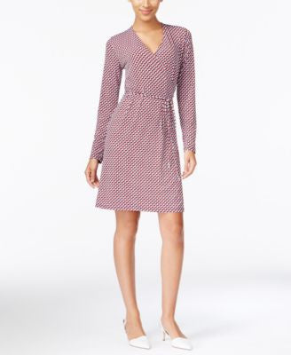 MICHAEL Michael Kors Geo-Print Faux-Wrap Dress