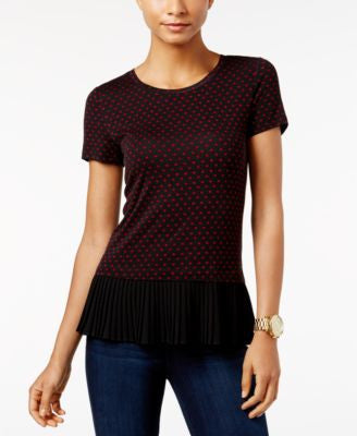 MICHAEL Michael Kors Pleated Polka-Dot Top