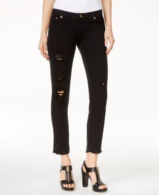 MICHAEL Michael Kors Ripped Cropped Skinny Jeans