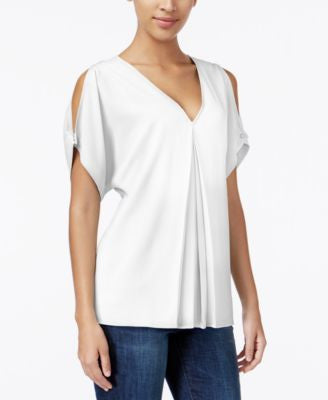 MICHAEL Michael Kors Pleated Cold-Shoulder Top