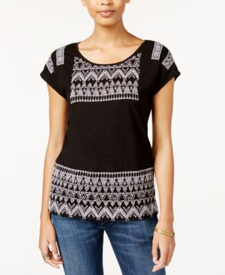 Lucky Brand Jeans Contrast Embroidered T-Shirt