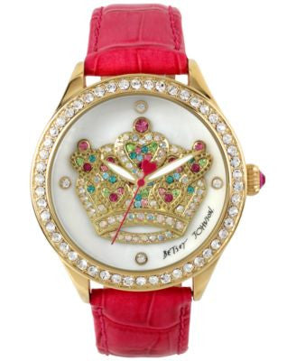 Betsey Johnson Women's Fuchsia Leather Strap Watch 42mm BJ00517-37