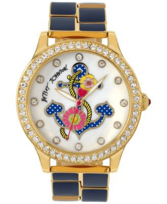 Betsey Johnson Women's Gold-Tone and Navy Bracelet Watch 42mm BJ00198-07