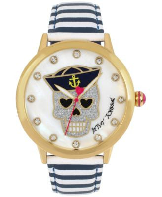Betsey Johnson Women's Navy & White Striped Leather Strap Watch 42mm BJ00084-90