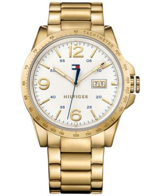 Tommy Hilfiger Men's Casual Sport Gold-Tone Ion-Plated Stainless Steel Bracelet Watch 46mm 1791256