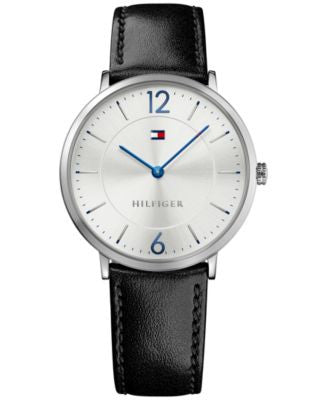 Tommy Hilfiger Men's Sophisticated Sport Black Leather Strap Watch 40mm 1710351