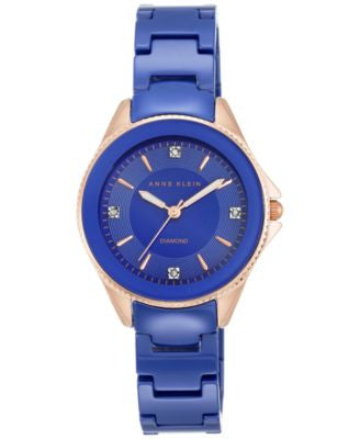 Anne Klein Women's Diamond Accent Cobalt Blue Ceramic Bracelet Watch 32mm AK-2390RGCB