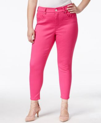 Melissa McCarthy Seven7 Trendy Plus Size Dark Pink Wash Pencil Ankle Jeans