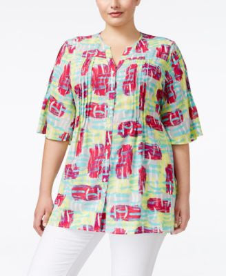 Melissa McCarthy Seven7 Trendy Plus Size Short-Sleeve Tie-Back Top