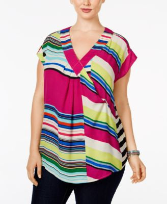 Melissa McCarthy Seven7 Trendy Plus Size Short-Sleeve Printed Top