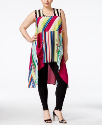 Melissa McCarthy Seven7 Plus Size Sleeveless High-Low Tunic