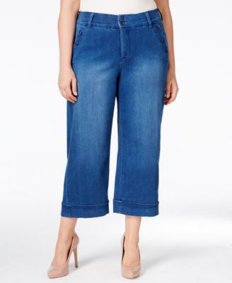 Melissa McCarthy Seven7 Trendy Plus Size Cropped Wide-Leg Jeans