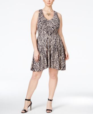 Jessica Simpson Trendy Plus Size Nicola Printed Fit & Flare Dress
