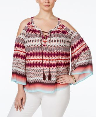 Jessica Simpson Trendy Plus Size Printed Cold-Shoulder Peasant Top