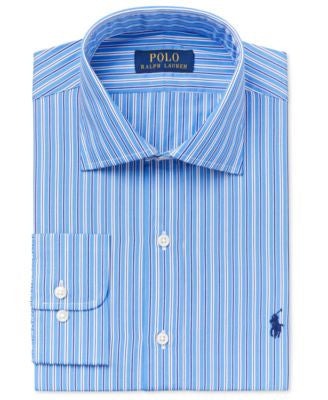 Polo Ralph Lauren Men's Classic-Fit Regent Blue Striped Dress Shirt
