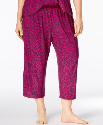 Alfani Plus Size Leopard-Print Capri Pajama Pants, Only at Vogily