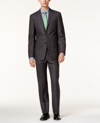 Calvin Klein Men's Extra-Slim Fit Gray Glen Plaid Suit