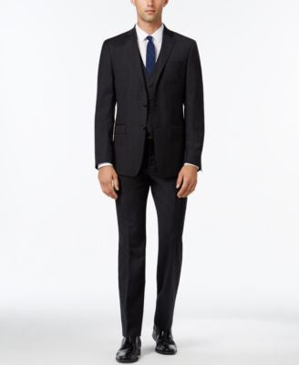 Calvin Klein Men's Extra Slim-Fit Charcoal Plaid Vested Suit