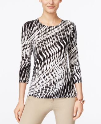 JM Collection Printed Three-Quarter-Sleeve Top, Only at Vogily