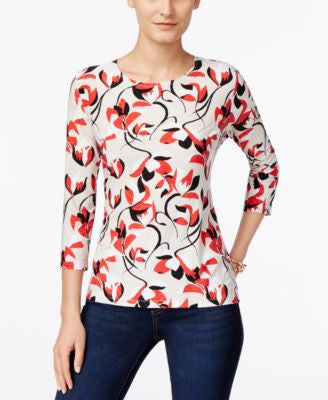 JM Collection Petite Floral-Print Jacquard Top, Only at Vogily