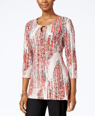 JM Collection Petite Printed Keyhole Top, Only at Vogily