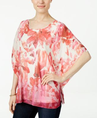 JM Collection Floral-Print Poncho Top, Only at Vogily