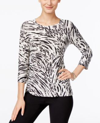 JM Collection Animal-Print Three-Quarter-Sleeve Top, Only at Vogily