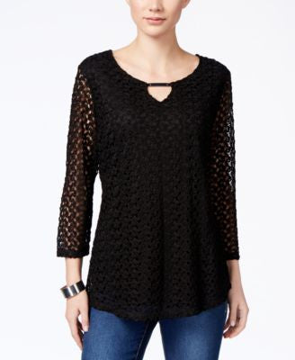JM Collection Crochet Keyhole Top, Only at Vogily