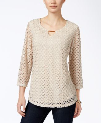 JM Collection Petite Crocheted Keyhole Blouse, Only at Vogily
