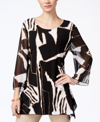 JM Collection Printed Three-Quarter-Sleeve Tunic, Only at Vogily