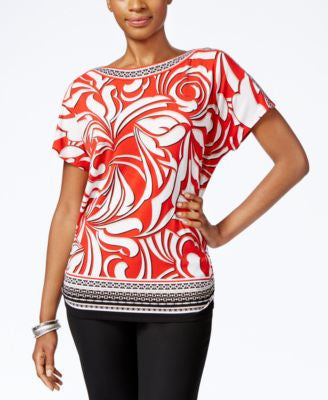 JM Collection Petite Short-Sleeve Boat-Neck Top, Only at Vogily