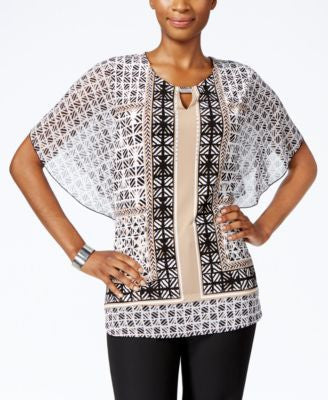 JM Collection Petite Butterfly-Sleeve Printed Top, Only at Vogily
