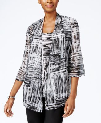 JM Collection Petite Printed Layered-Look Top, Only at Vogily