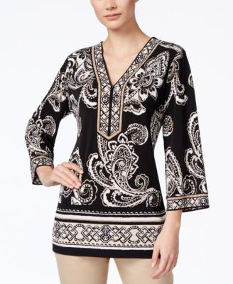 JM Collection Printed Beaded Tunic, Only at Vogily