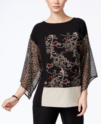 JM Collection Printed Angel-Sleeve Top, Only at Vogily