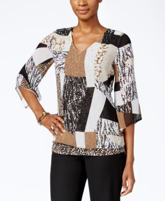 JM Collection Printed Bell-Sleeve Top, Only at Vogily