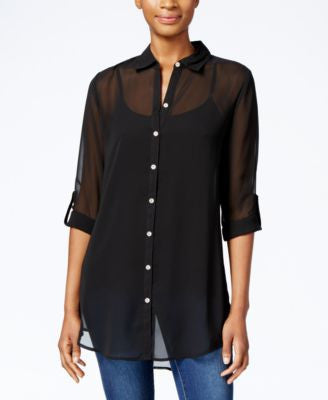 JM Collection Sheer Button-Front Shirt, Only at Vogily