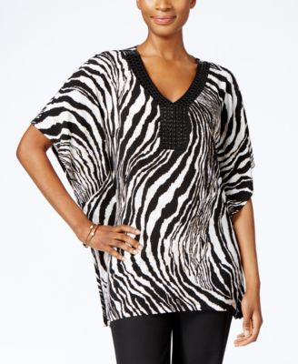 JM Collection Zebra-Print Beaded Tunic, Only at Vogily
