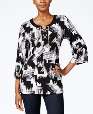JM Collection Printed Lace-Up Top, Only at Vogily